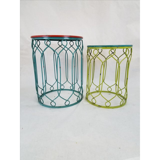Distressed Metal Scroll Tables - Set of 2 - Image 2 of 4