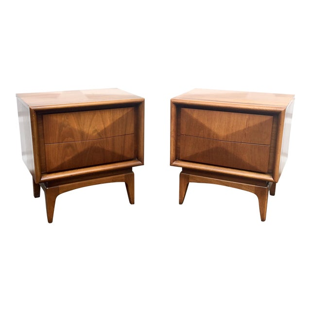 Mid-Century Diamond Front Nightstands - A Pair - Image 1 of 11