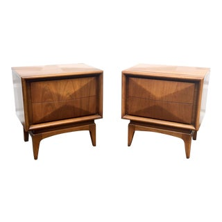Mid-Century Diamond Front Nightstands - A Pair