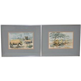African Wildlife Watercolor Paintings - A Pair