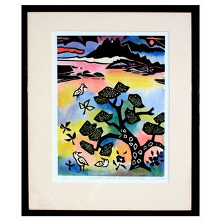Landscape With Birds Woodblock