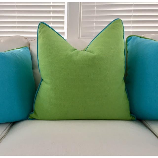 Lime Green With Turquoise Contrast Welt Pillow - Image 2 of 6