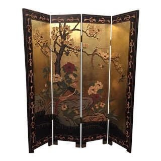 Antique Coromandel 4 Panel Screen