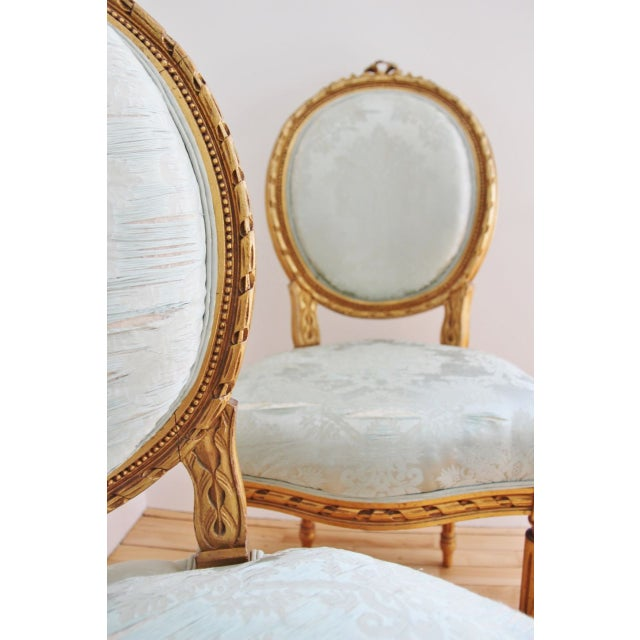 Vintage Louis XVI Style Giltwood Chairs - a Pair - Image 2 of 7
