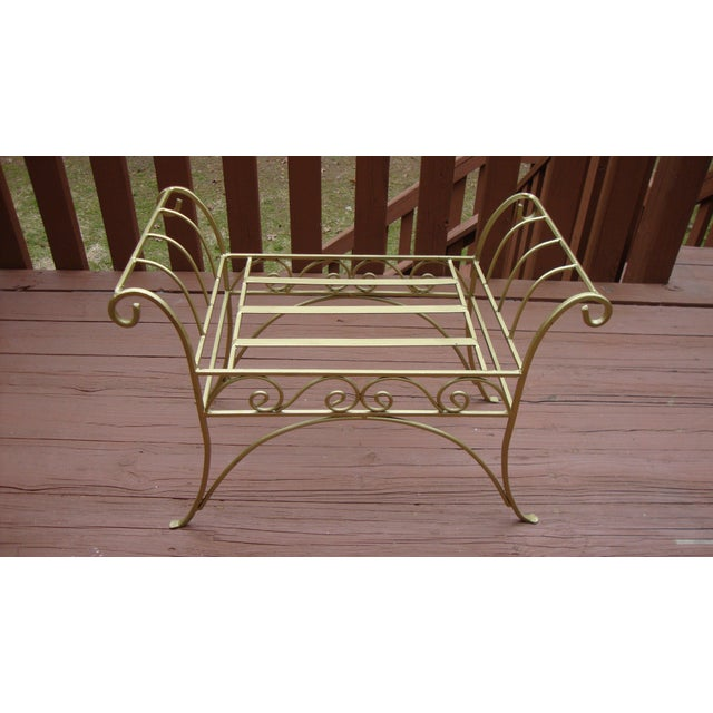 Metal French Art Deco Scroll Bench in Gold Tone - Image 10 of 11