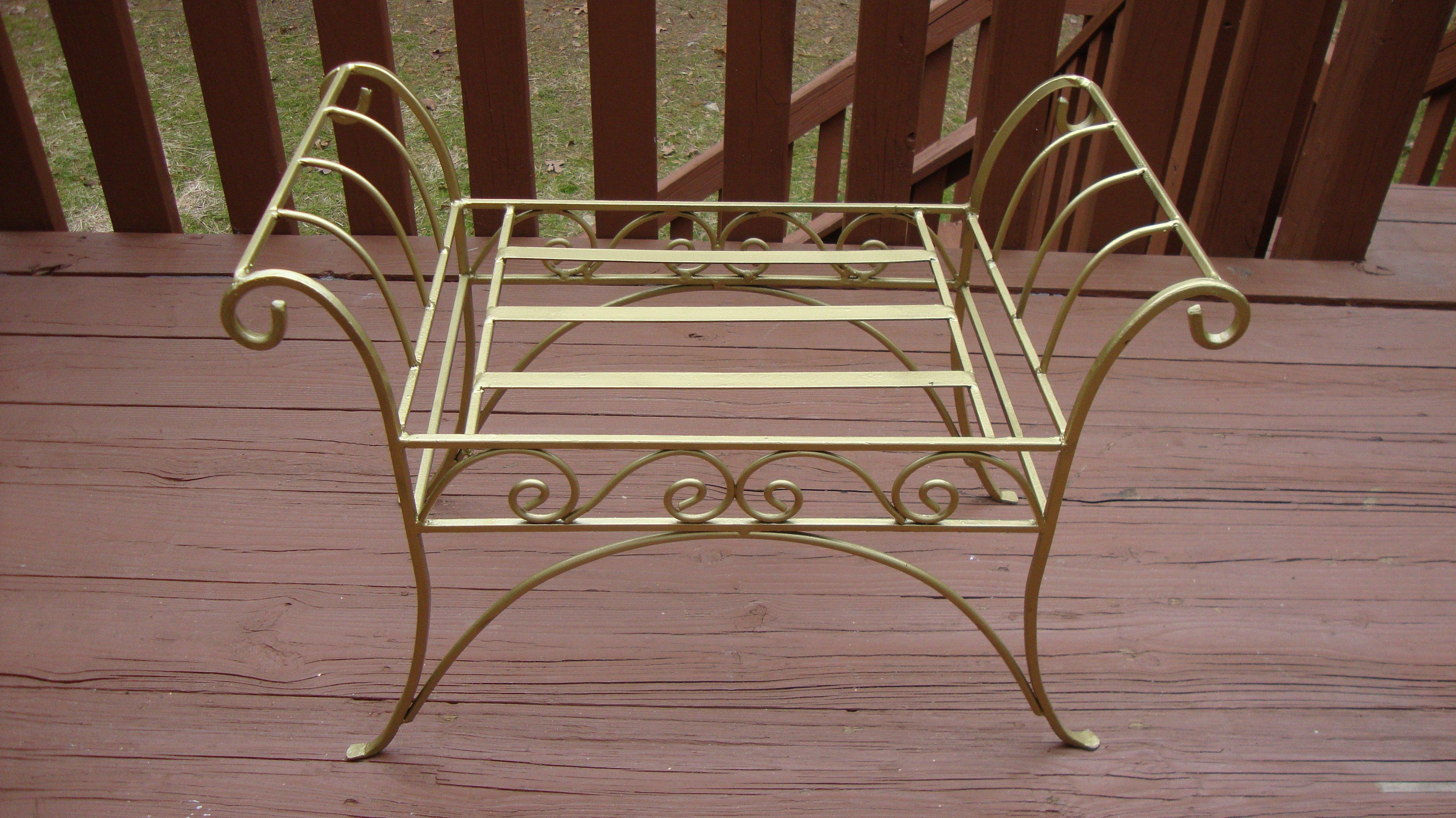 Scroll Bench Part - 25: Metal French Art Deco Scroll Bench In Gold Tone - Image 10 Of 11