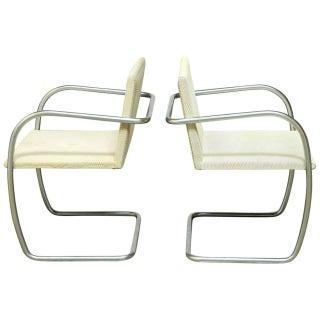 Mies Van Der Rohe Brushed Nickel Chairs - Pair