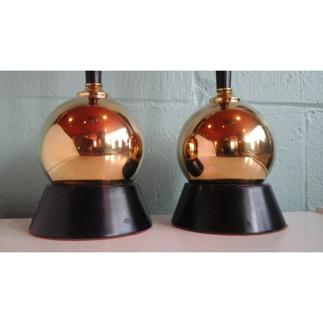 Vintage 1950s Brass Ball Table Lamps - Pair - Image 3 of 8