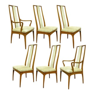 John Stuart Mid-Century Danish Modern Walnut Dining Chairs - Set of 6