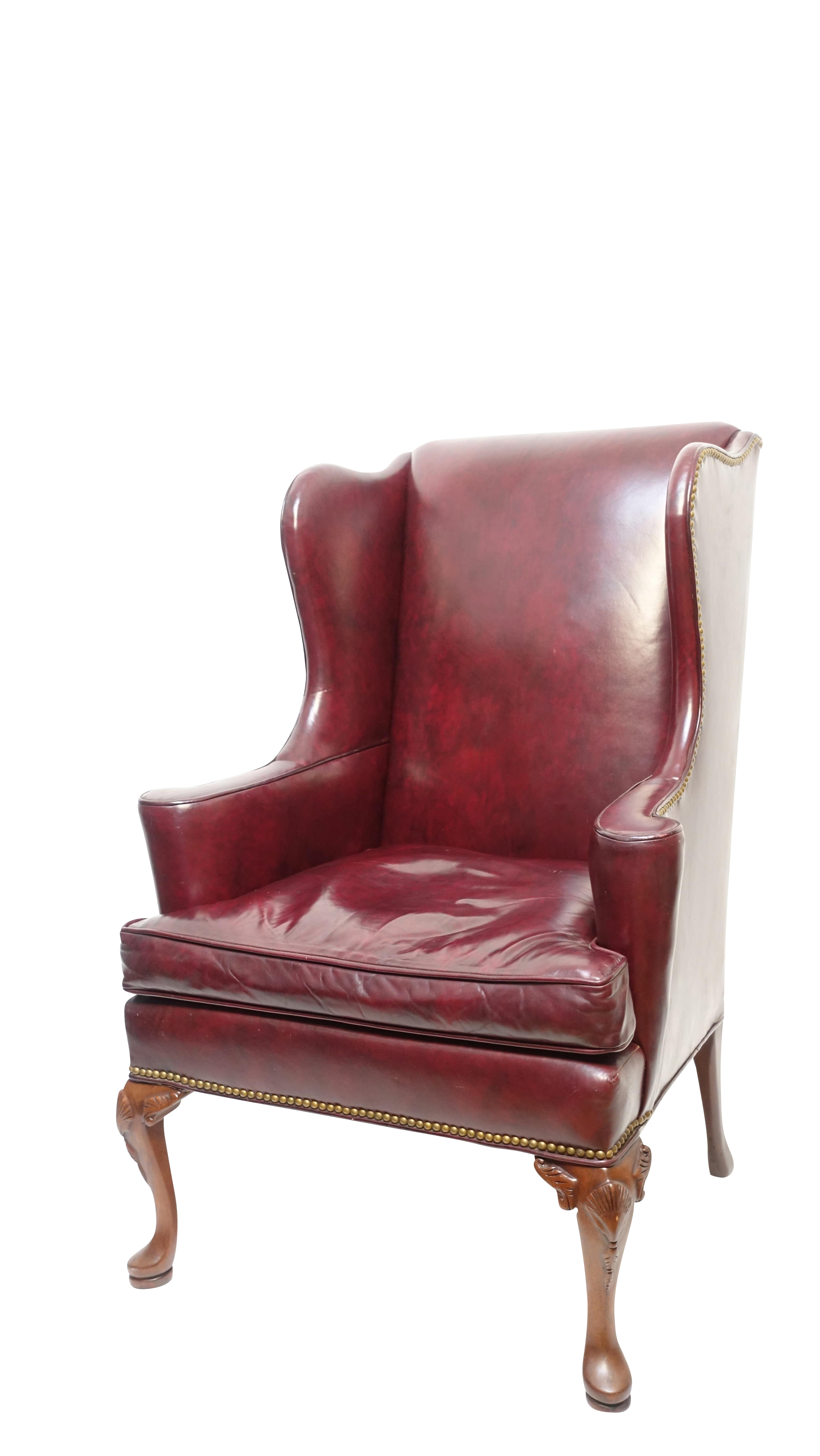 vintage burgundy leather wingback chair