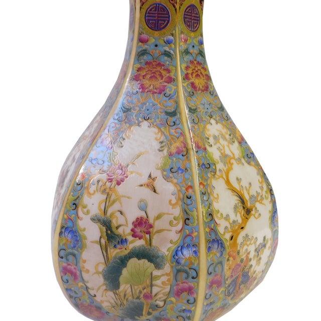 Floral Hexagon Porcelain Vase - Image 4 of 7