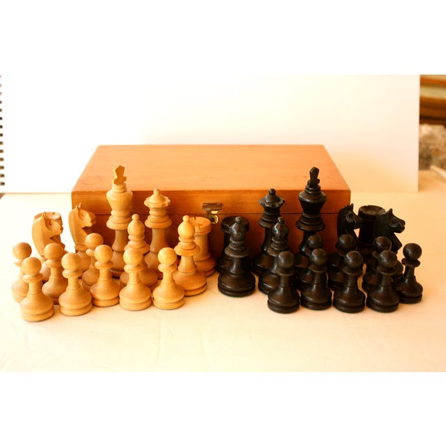 Mid-century Carved Wood Chess Pieces With Box - Image 2 of 5