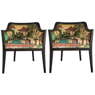 Vintage Chinoiserie Side Chairs - Pair