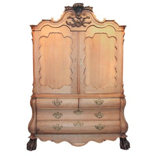 19th c. Dutch Carved Oak Linen Press