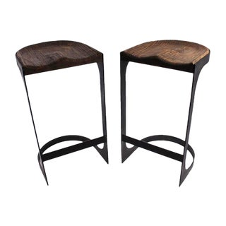 Rustic Wood and Iron Bar Stools - A Pair