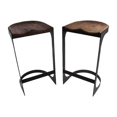 Image of Rustic Wood and Iron Bar Stools - A Pair