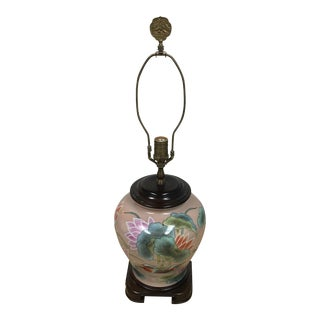 Asian Inspired Lotus Motif Hand Painted Ceramic Table Lamp