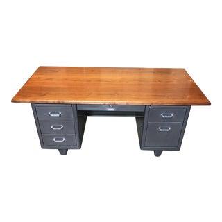 Vintage Industrial Steel & Wood Tanker Desk
