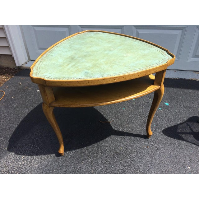 French Provincial Leather Top Side Table - Image 8 of 8