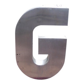 "Antique Industrial Stainless Steel Metal Letter ""G"""