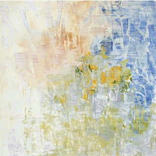 Paul Ashby Abstract Blue & Yellow Oil Painting