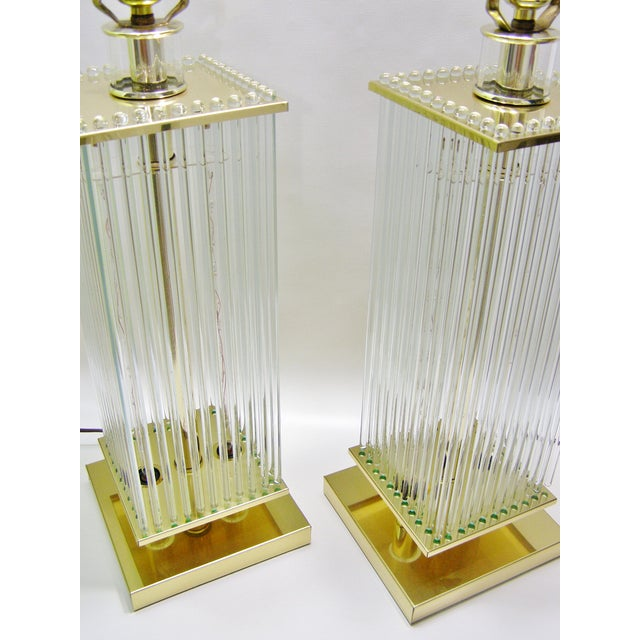 Sciolari-Style Vintage Glass Rod Lamps - A Pair - Image 3 of 8