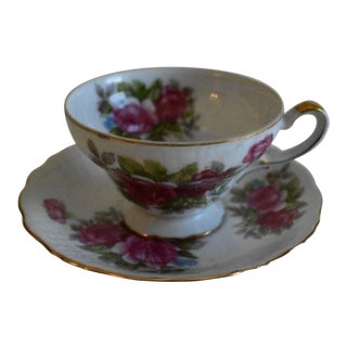 Vintage Royal Albert Bone China Blossom Time Series Hawthorn Footed Cup & Saucer - A Pair