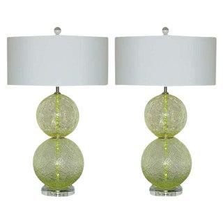 Lime Green Vintage Murano Ball Lamps