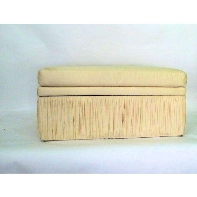 Image of Hollywood Regency Off White Silk Storage Bench
