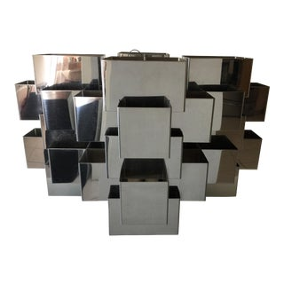 C. Jere Steel Chrome Geometric Cube Chandelier 1970