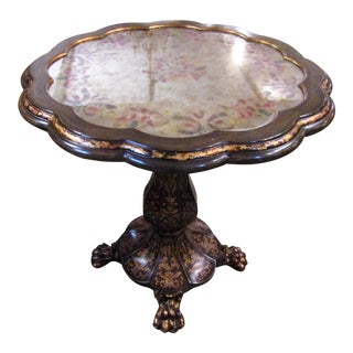Painted Mirror Top Round Ornate Side Table