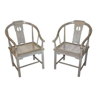Vintage Drexel Horseshoe Ming Armchairs - A Pair