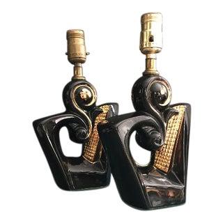 Art Deco Black Ceramic Humphrey Lamp With Gold Accent - A Pair