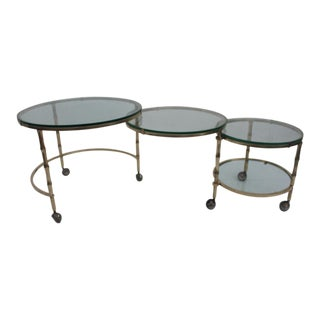 Italian Brass Faux Bamboo Nesting Cocktail Table