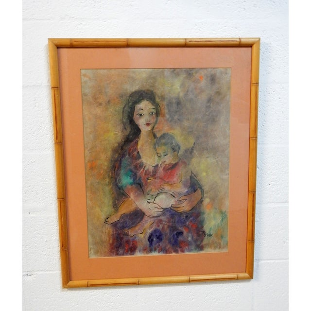 Mother with Child Painting with Bamboo Frame - Image 7 of 7