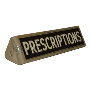 "1930's Light Up Reverse Glass Painted Sign "" Prescriptions """