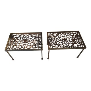 Vintage Wrought Iron Grated Tables - A Pair