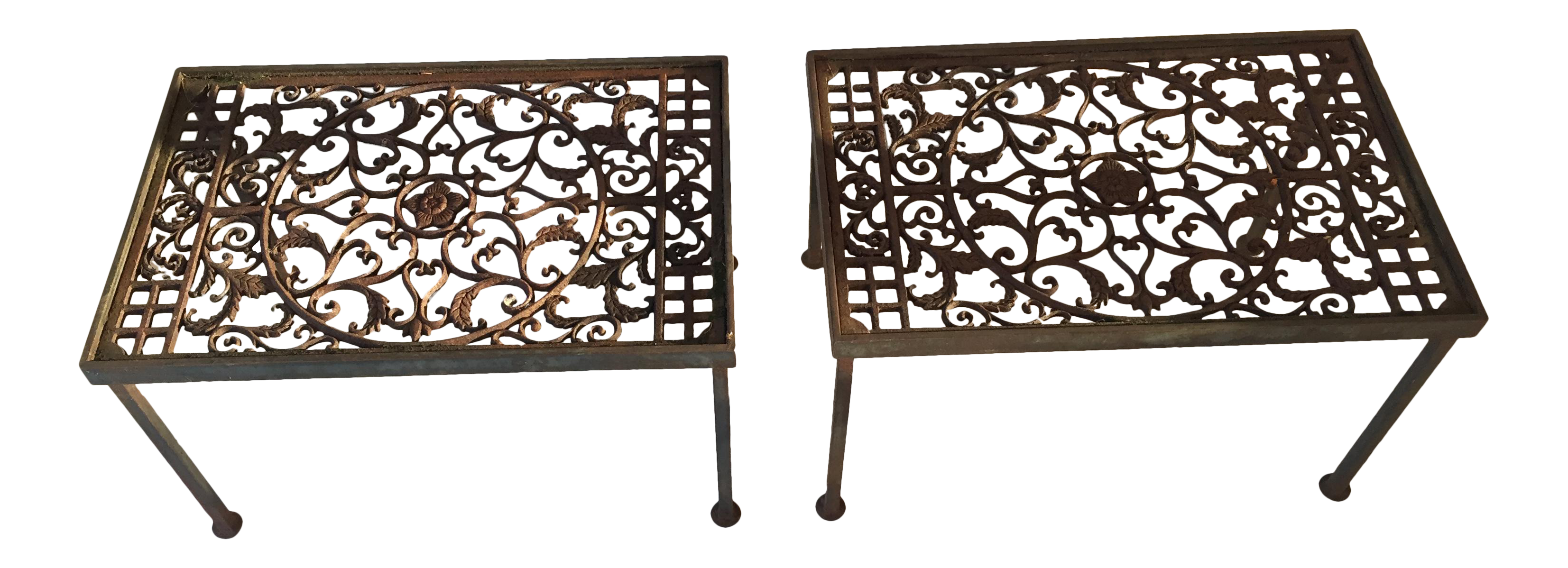 Vintage Wrought Iron Grated Tables   A Pair