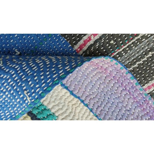Bangladeshi Hand Sewn Vintage Quilt - Image 6 of 6