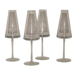 UFO Triangle Champagne Flutes - Set of 4