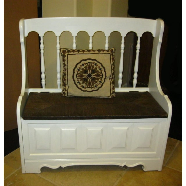 Tall-Back White Cottage Rush Seat Bench - Image 3 of 10