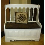 Image of Tall-Back White Cottage Rush Seat Bench