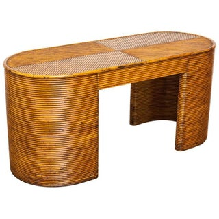 Crespi-Style French Rattan Art Deco Desk