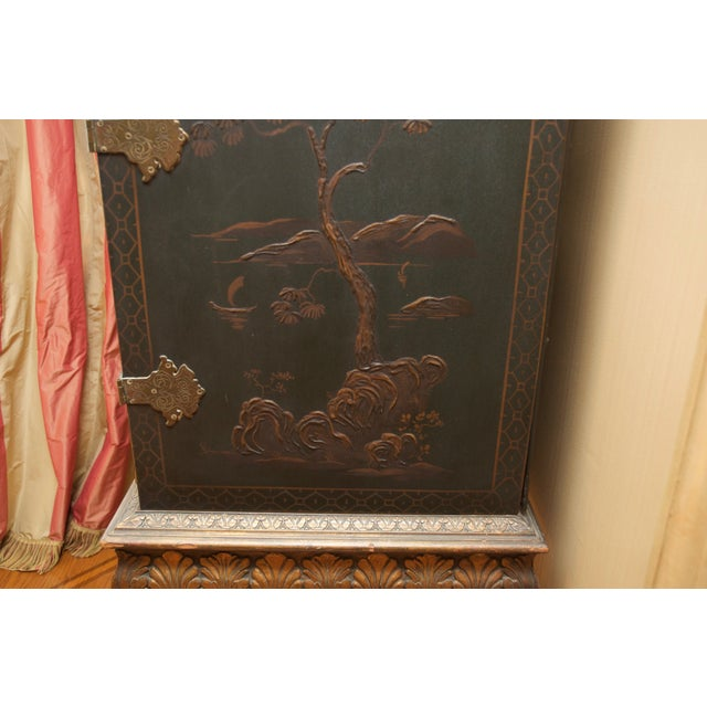 Hunter Green Vintage Chinoiserie Cabinet With Rais - Image 5 of 10