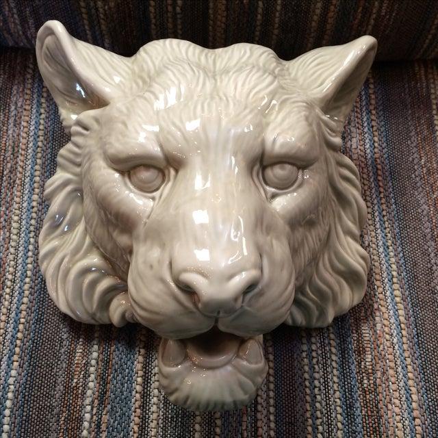 Image of Fitz & Floyd Glazed Lion Head Planter