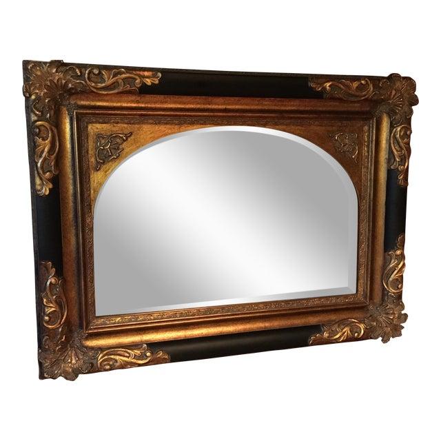 Large ornate gold black mantel mirror chairish for Mantel mirrors