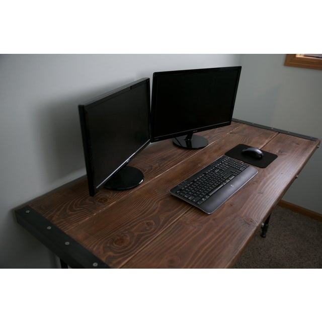 Solid Wood Industrial Desk - Image 4 of 8