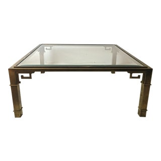 Mastercraft Greek Key Brass & Glass Table-Mid Century