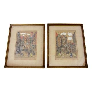 Alfred-Louis Brunet-Dubaines Antique Etchings - A Pair
