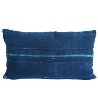 Vintage African Striped Indigo Mud Cloth Pillow